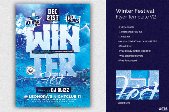 Winter Festival Flyer Template Graphic Print Templates By ThatsDesignStore - Image 2