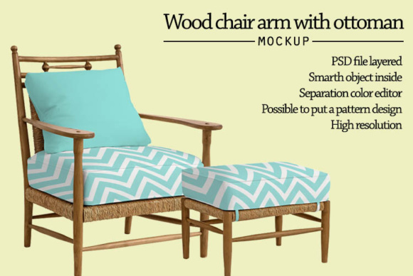Download Free Wood Armchair With Ottoman Mock Up Graphic By Gumacreative for Cricut Explore, Silhouette and other cutting machines.