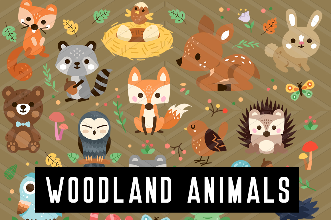 Download Free Woodland Decorated Animals Clipart Graphic By Backthemc SVG Cut Files