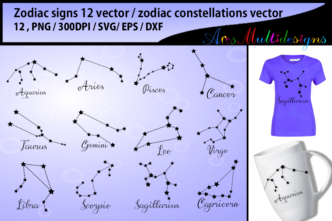 Download Free Zodiac Vector Silhouette Bundle Graphic By Arcs Multidesigns for Cricut Explore, Silhouette and other cutting machines.