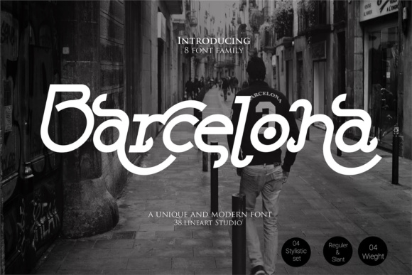 Print on Demand: Barcelona Family Sans Serif Font By 38.lineart
