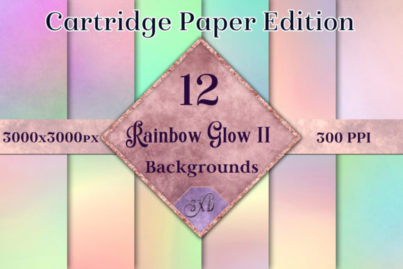 Rainbow Glow II - Cartridge Paper Edition - 12 Backgrounds Graphic By SapphireXDesigns