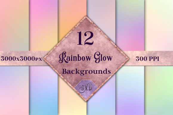Rainbow Glow - 12 Blurred Pastel Rainbow Backgrounds Graphic By SapphireXDesigns
