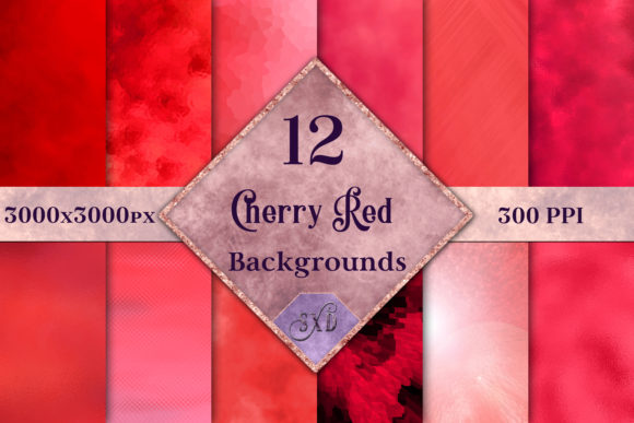 Print on Demand: Cherry Red Backgrounds - 12 Image Set Graphic Backgrounds By SapphireXDesigns - Image 1