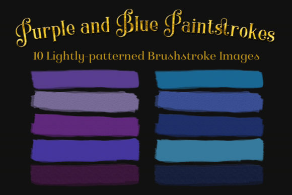 Print on Demand: Purple and Blue Paintstrokes - 10 Lightly-Patterned Brushstroke Images Graphic Objects By SapphireXDesigns - Image 1