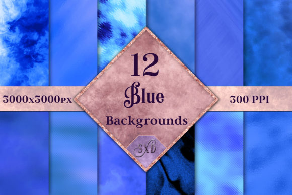 Print on Demand: Blue Backgrounds - 12 Image Set Graphic Backgrounds By SapphireXDesigns
