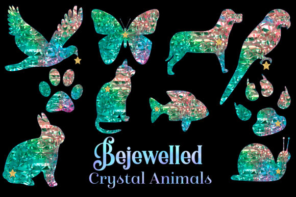 Print on Demand: Bejewelled Crystal Animals Graphic Objects By SapphireXDesigns - Image 1