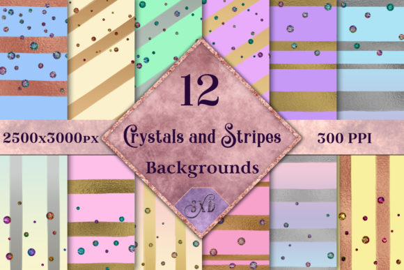 Print on Demand: Crystals and Stripes - 12 Background Image Set Graphic Backgrounds By SapphireXDesigns