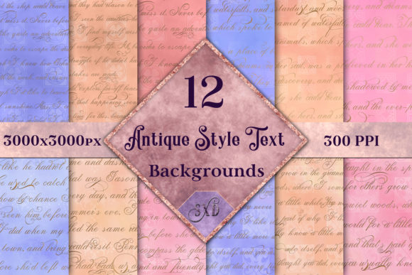 Print on Demand: Antique Style Text Backgrounds - 12 Image Set Graphic Backgrounds By SapphireXDesigns