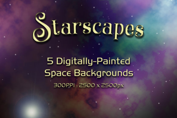 Print on Demand: Starscapes - 5 Digitally-Painted Space Backgrounds Graphic Backgrounds By SapphireXDesigns - Image 1