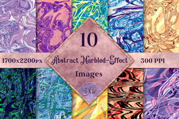 Print on Demand: Abstract Marbled-Effect Images Graphic Backgrounds By SapphireXDesigns