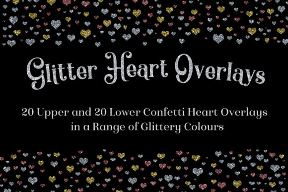 Print on Demand: Glitter Heart Overlays Graphic Objects By SapphireXDesigns