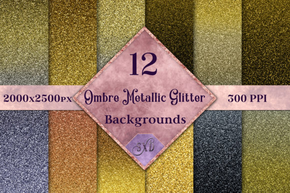 Print on Demand: Ombre Metallic Glitter - 12 Image Set Gráfico Fondos Por SapphireXDesigns