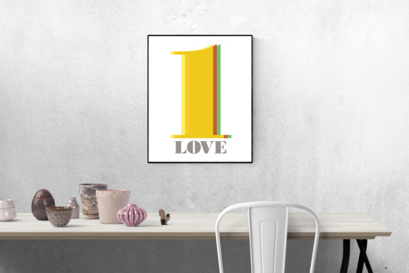 Print on Demand: '1 Love' Typograpgy Print Ready Artwork for Home or Office Graphic Crafts By GraphicsBam Fonts