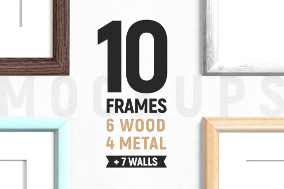 Print on Demand: 10 Frames - Wood & Metal + 7 Walls Graphic Product Mockups By Corgi Astronaut
