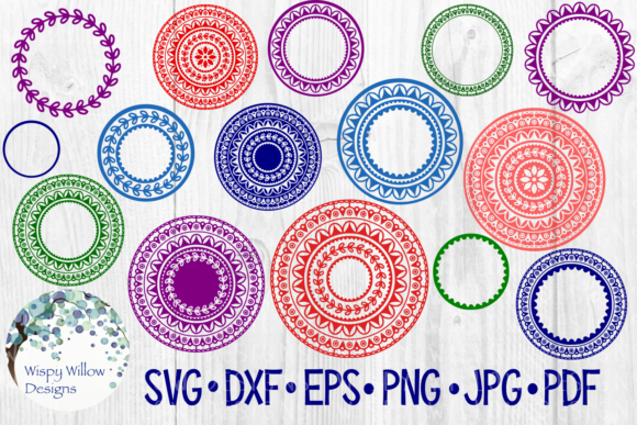 Download Free 15 Mandala Bundle Name Monogram Frame Border Circle Cut File SVG Cut Files