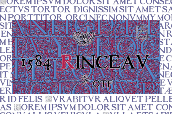 Print on Demand: 1584 Rinceau Decorative Font By GLC Foundry