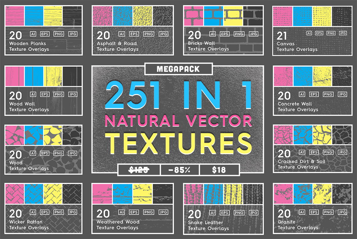 Download Free 251 Natural Vector Textures Megapack Graphic By Textures for Cricut Explore, Silhouette and other cutting machines.