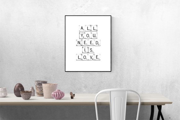 Print on Demand: 29 Print Ready Home Office Wall Art with a Wooden Word Game Blocks Graphic Crafts By GraphicsBam Fonts - Image 2