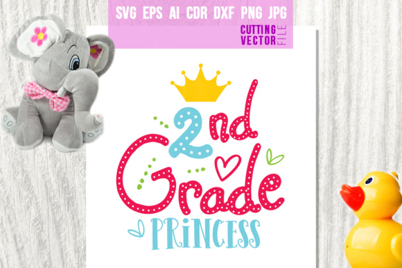 2nd Grade Princess Grafik Plotterdateien von danieladoychinovashop