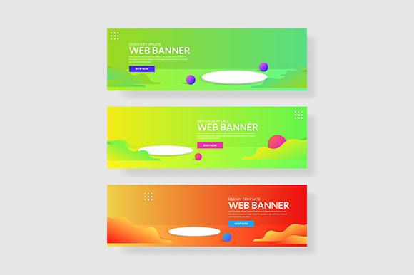 3 Set 3d Banner with Colorful Gradients Wave Shapes Graphic Illustrations By indostudio
