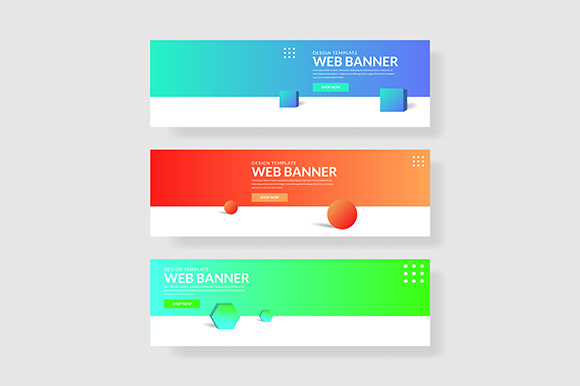 3 Set 3d Banner with Modern Gradients Circle Shape