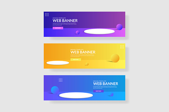 3 Set 3d Banner with Modern Gradients Circle Shape Graphic Graphic Templates By indostudio