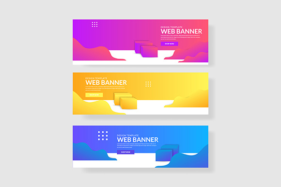 3 Set 3d Banner with Modern Gradients Wave & Rectangle Shapes Graphic Graphic Templates By indostudio - Image 1