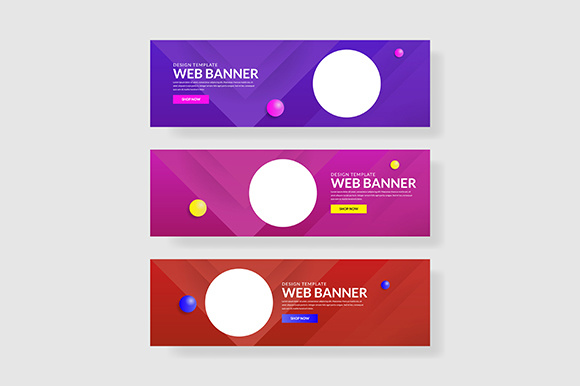3 Set Banner with Gradients Circle Shapes Composition