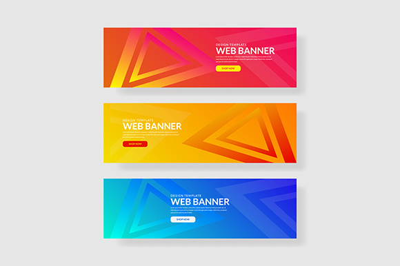 3 Set Banner with Gradients Triangle Shapes Composition