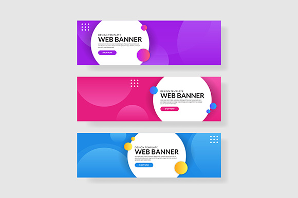 3 Set Banner with Simple Gradients Circle Shapes Composition-01 Graphic Graphic Templates By indostudio