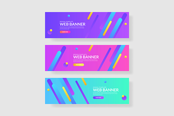 3 Set Colorful Banner Geometric Pattern Graphic Graphic Templates By indostudio