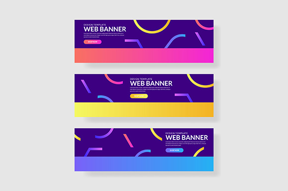3 Set Colorful Banner Memphis Shape with Gradients Composition Graphic Graphic Templates By indostudio