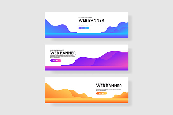 3 Set Colorful Banner Wave Shape Composition Graphic Graphic Templates By indostudio