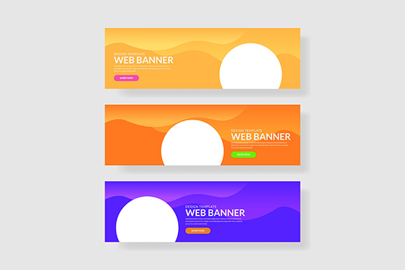 3 Set Colorful Banner with Circle Shape Wave Geometric Graphic Graphic Templates By indostudio