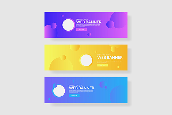 3 Set Colorful Banner with Circle Shape and Fluid Composite Graphic Graphic Templates By indostudio