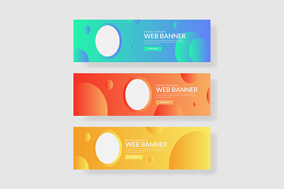 3 Set Colorful Banner with Circle Shape Graphic Graphic Templates By indostudio