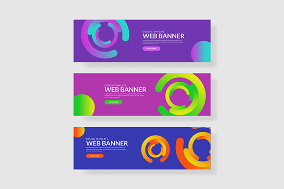 3 Set Colorful Banner with Gradient Circle Shape Gráfico Plantillas Gráficas Por indostudio