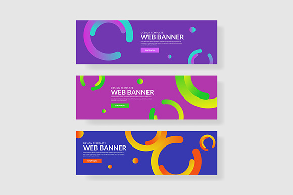 3 Set Colorful Banner with Gradient Circle Shape Graphic Graphic Templates By indostudio
