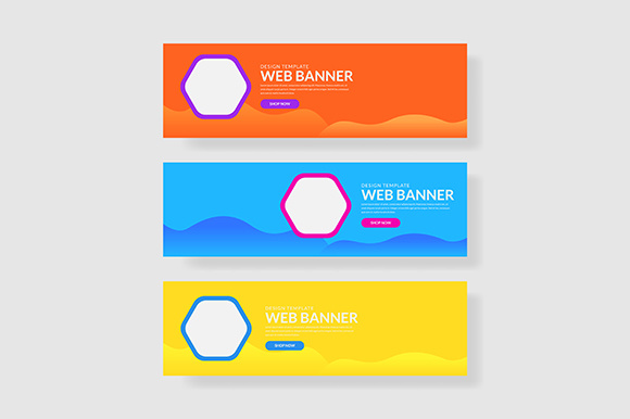 3 Set Colorful Banner with Hexagon Shape Graphic Graphic Templates By indostudio