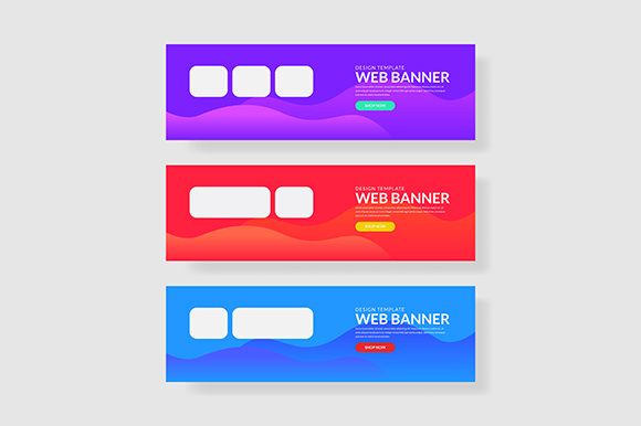 3 Set Colorful Banner with Rectangle Shape Wave Geometric Graphic Graphic Templates By indostudio
