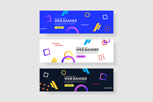 3 Set Colorful Geometric Banner Memphis Style Graphic Graphic Templates By indostudio