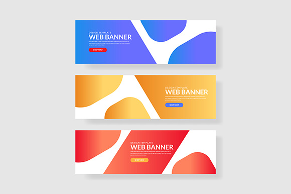 3 Set Fluid Geometric Banner Simple Gradient Graphic Graphic Templates By indostudio