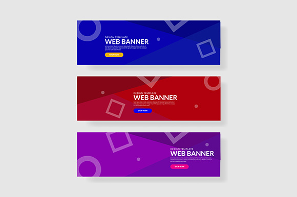 3 Set Geometric Banner Memphis Shapes Composition (2) Graphic Graphic Templates By indostudio