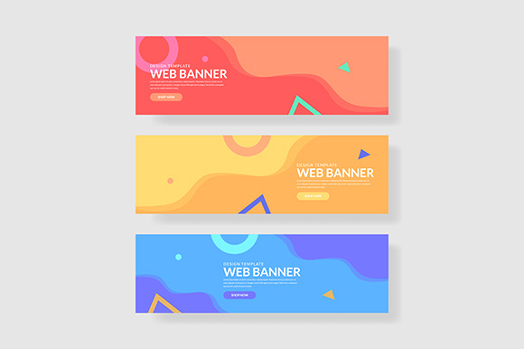 3 Set Geometric Banner Memphis Shapes Composition Graphic Graphic Templates By indostudio - Image 1