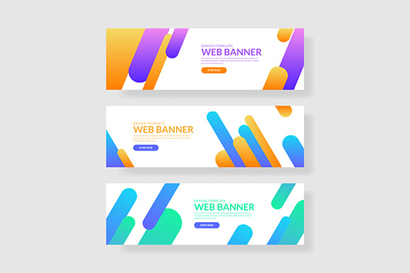 3 Set Giometric Banner with Gradients Composition (2) Grafik Grafik-Templates von indostudio