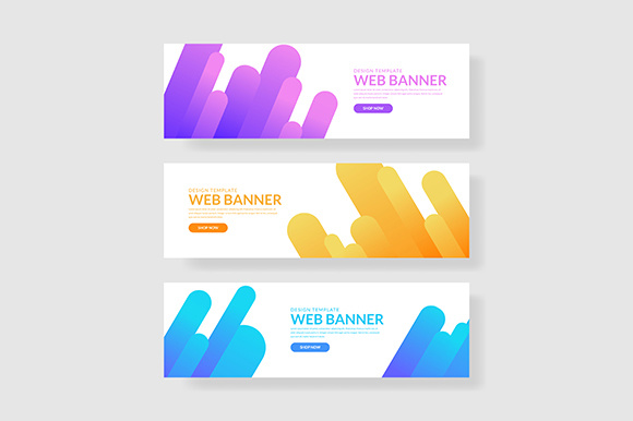 3 Set Giometric Banner with Gradients Composition Graphic Graphic Templates By indostudio - Image 1