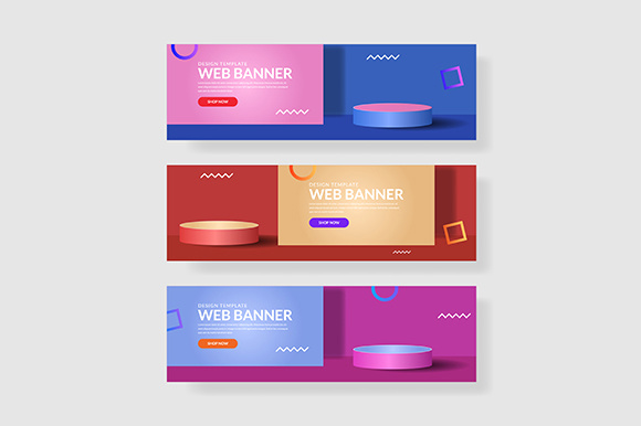 3 Set Modern Banner Circle & Square Shape Composition Graphic Graphic Templates By indostudio