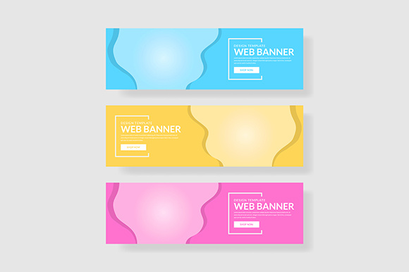 3 Set Modern Color Banner Wave Shape Graphic Graphic Templates By indostudio