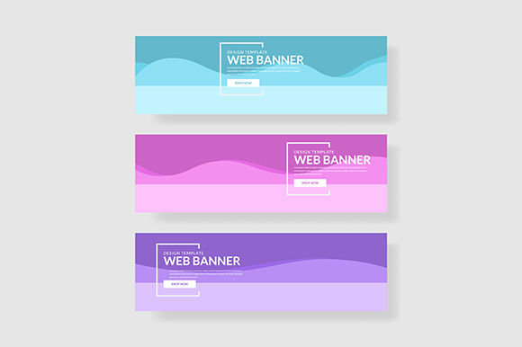 3 Set Pastel Color Banner Wave Shape Composition Graphic Graphic Templates By indostudio - Image 1